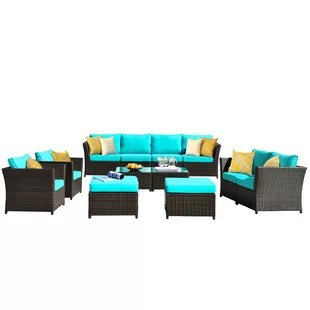 cassville patio furniture 12 piece sectional seating group with cushions