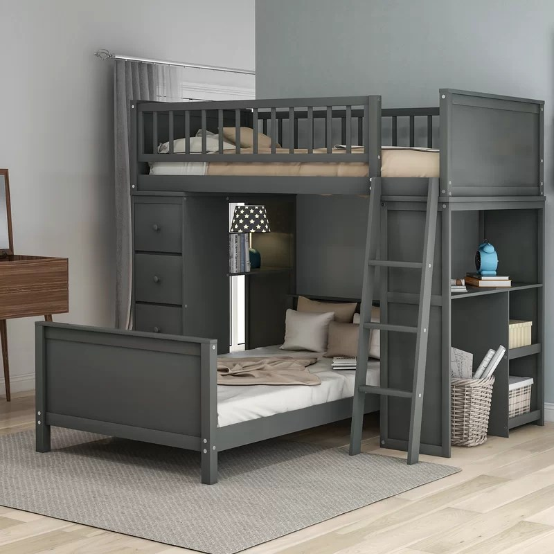 absher twin over twin l shaped bunk bed