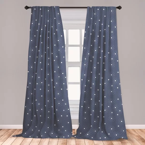 navy blue white curtains