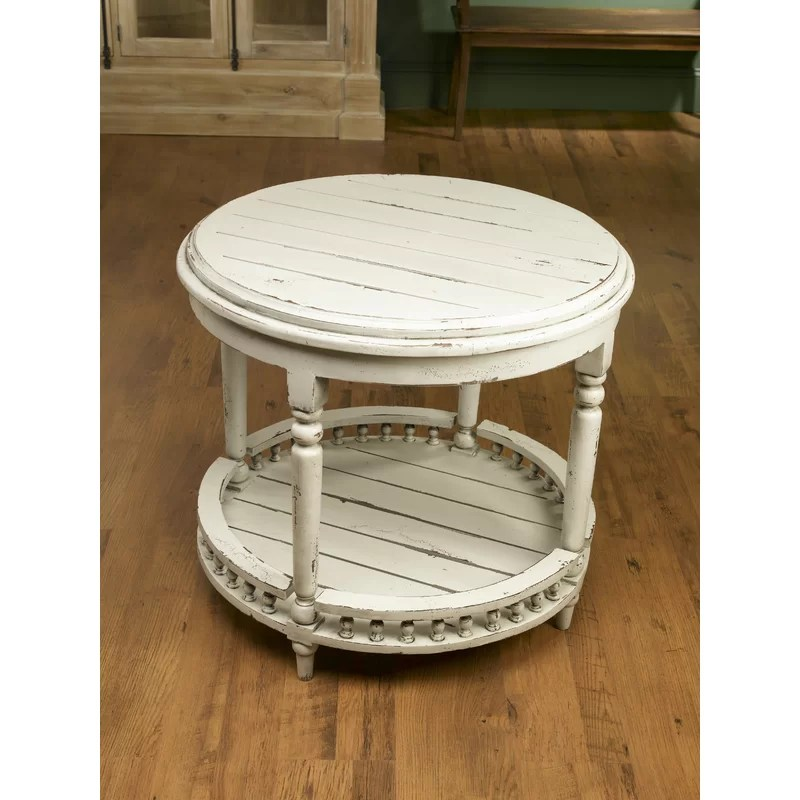 gingras round plank top end table