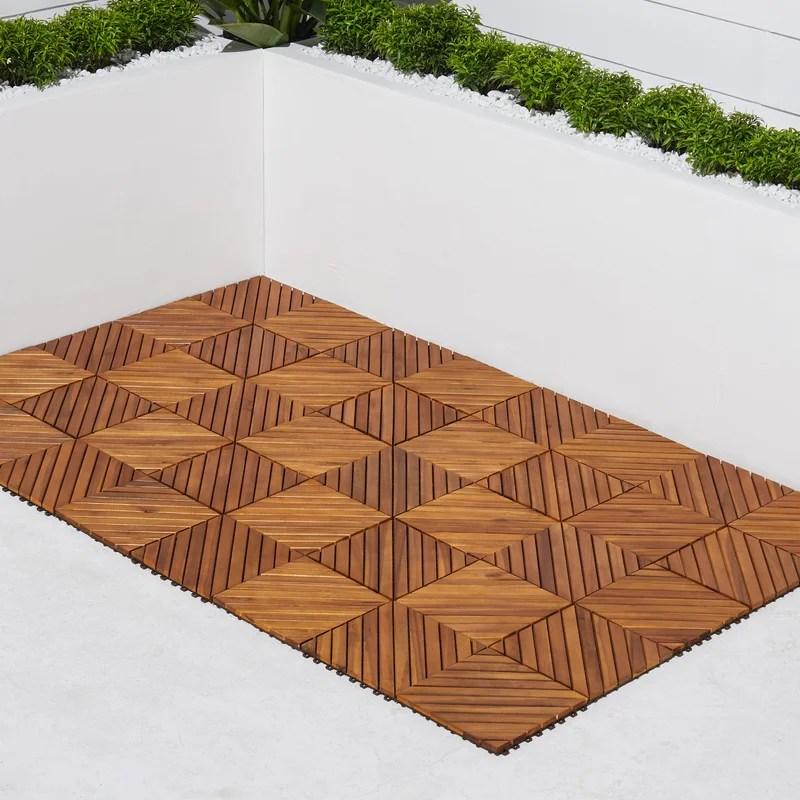 11 22 x 11 22 wood interlocking deck tile in tan
