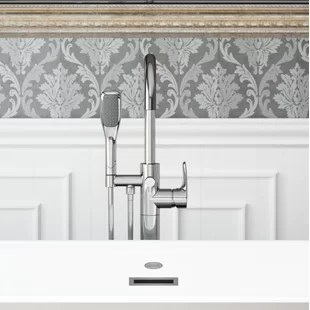 round double handle floor mounted freestanding tub filler with hand shower