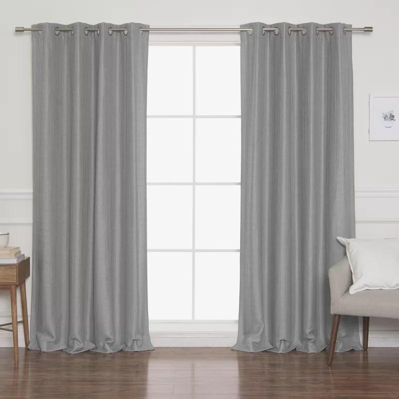 briella woven faux linen solid blackout thermal grommet curtain panels