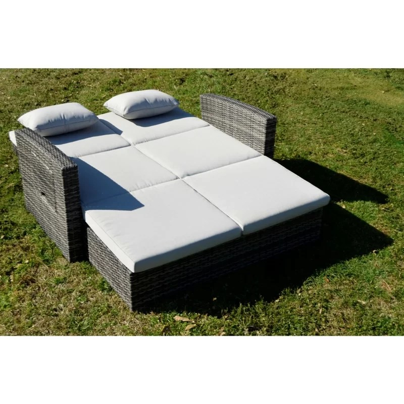 salamone outdoor double chaise lounge with cushion and table
