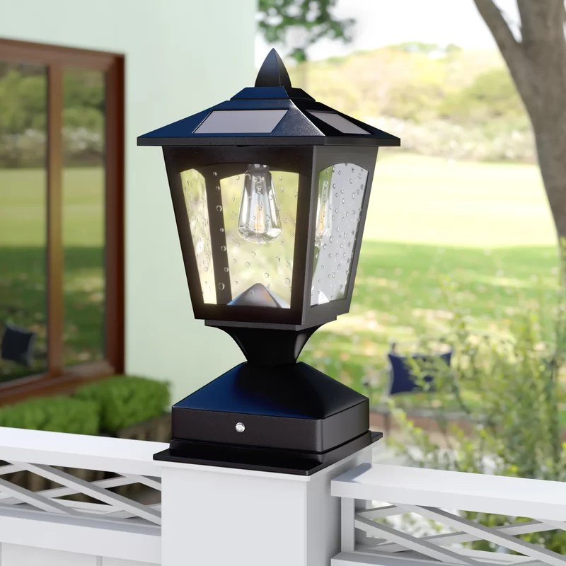 darby home co arturo solar powered 1 light led pier mount on Outdoor Solar Lights For Sale id=32634