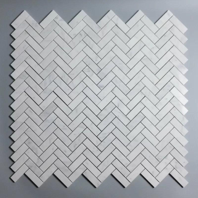 marble herringbone mosaic subway wall floor tile