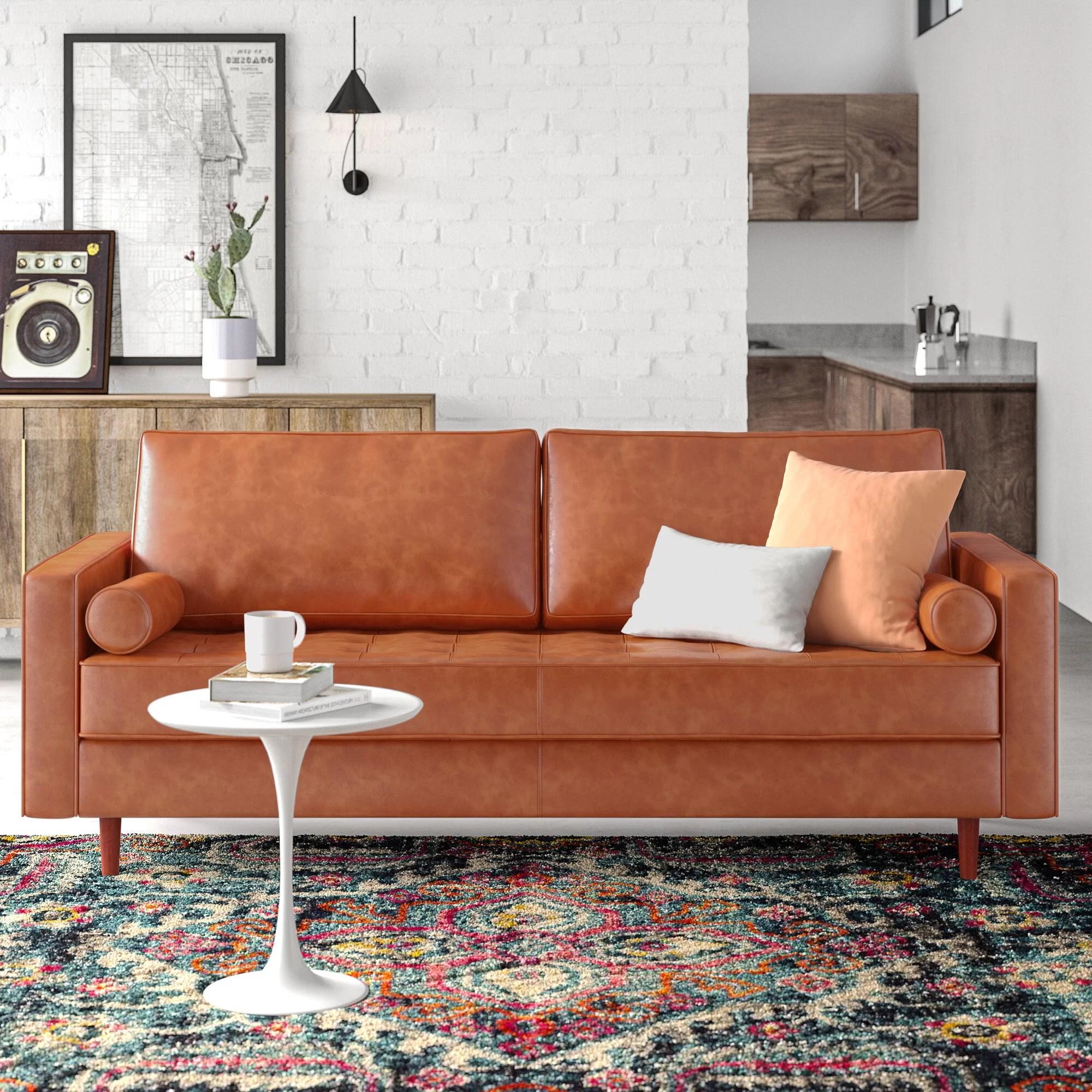 84 wide genuine leather square arm sofa