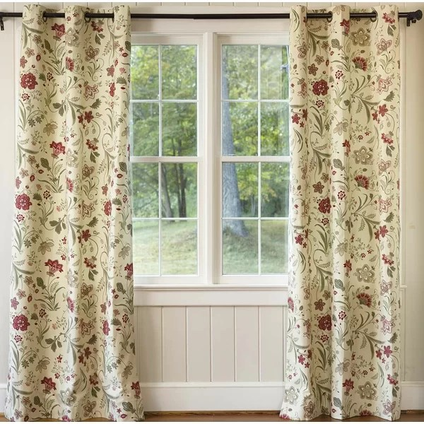 jacobean 100 cotton floral room darkening thermal grommet curtain panels