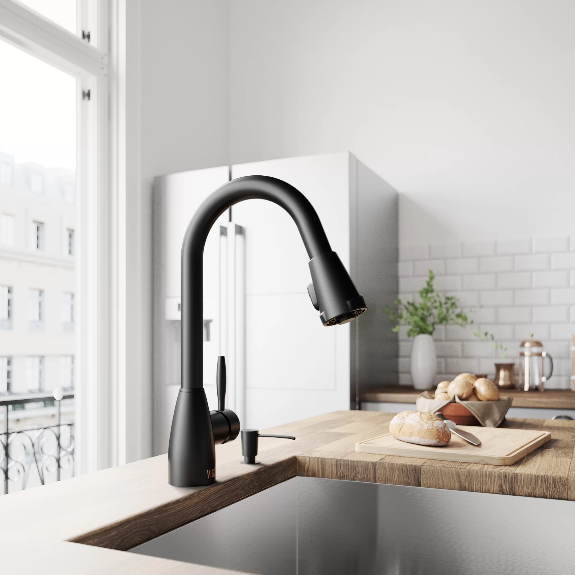 graham pull down single handle kitchen faucet with optional soap dispenser