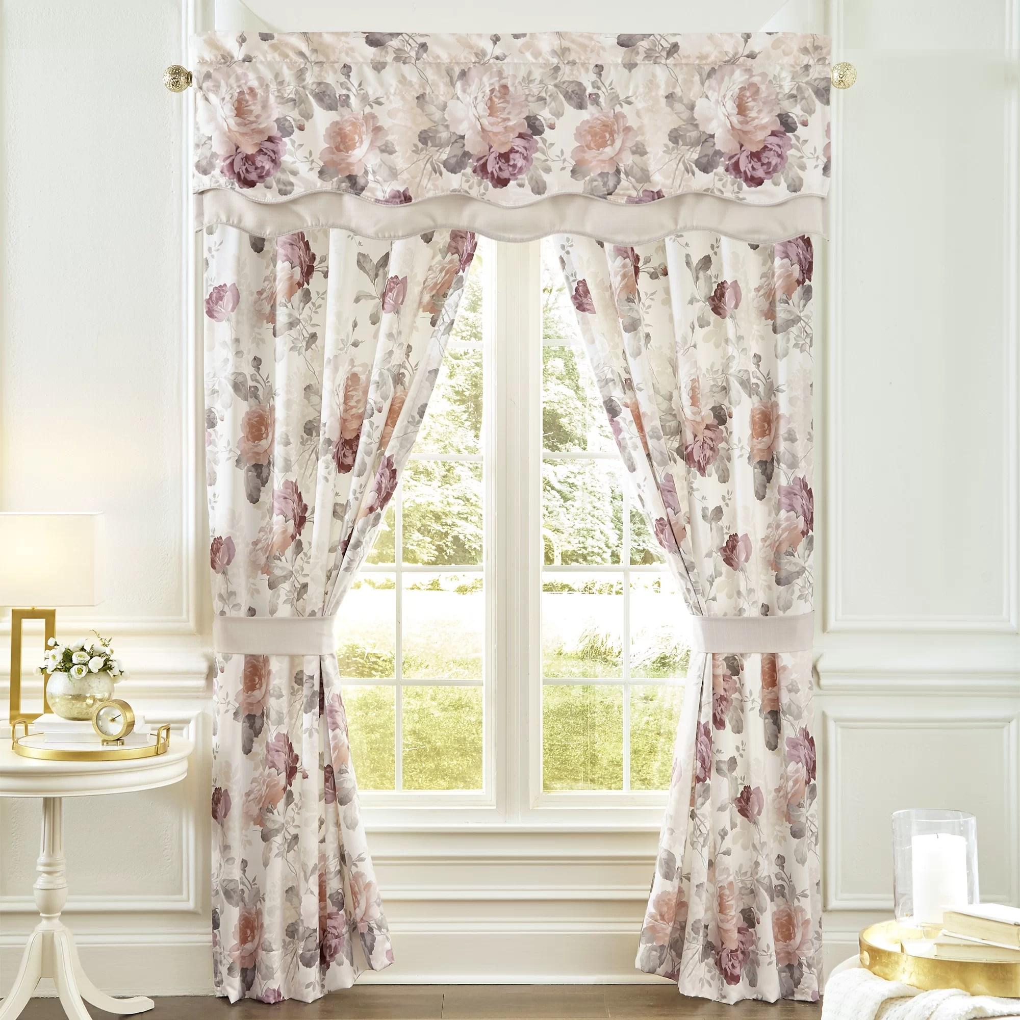 bela pole top drapery floral semi sheer curtains panels