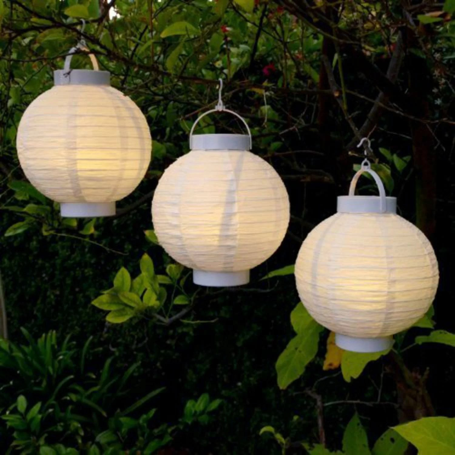 white 1 bulb battery powered integrated led outdoor hanging lantern