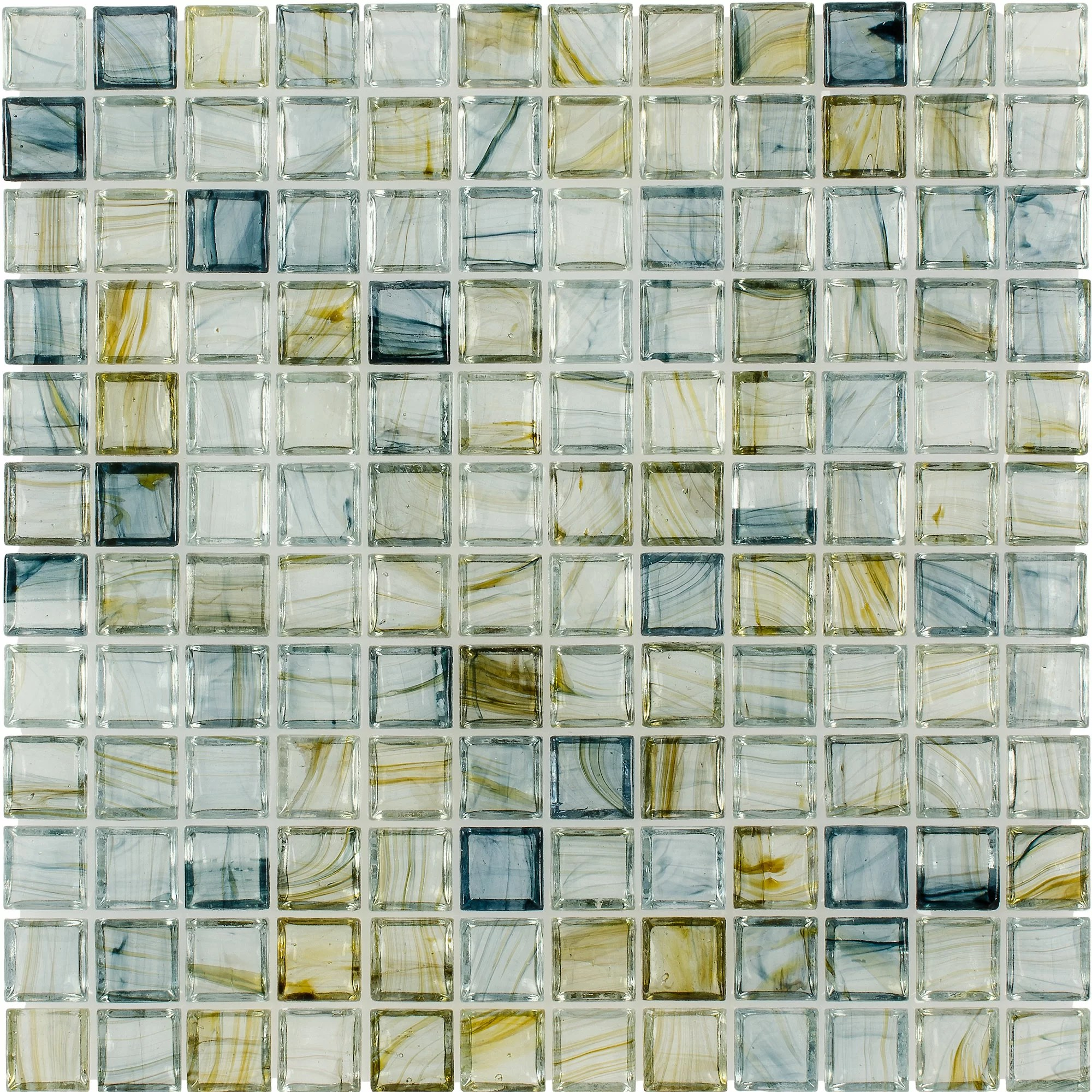 mosaictileoutlet squares 1 x 1 glass mosaic tile in glossy blue green reviews wayfair