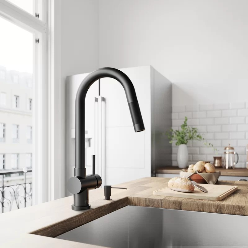 gramercy pull down single handle kitchen faucet with optional soap dispenser