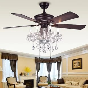 Chandelier Ceiling Fan Combo   Wayfair 52  Ridgway 5 Blade Ceiling Fan