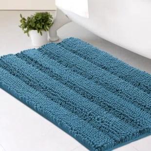 ultra plush rectangular chenille striped shaggy non slip bath rug