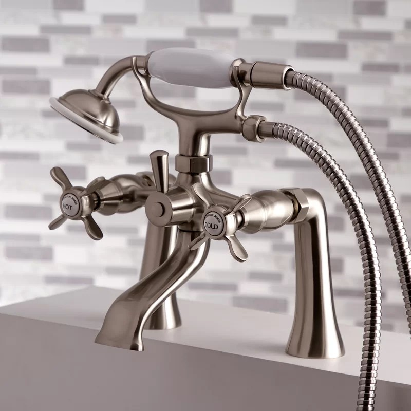 essex double handle deck mounted clawfoot tub faucet trim with diverter and handshower