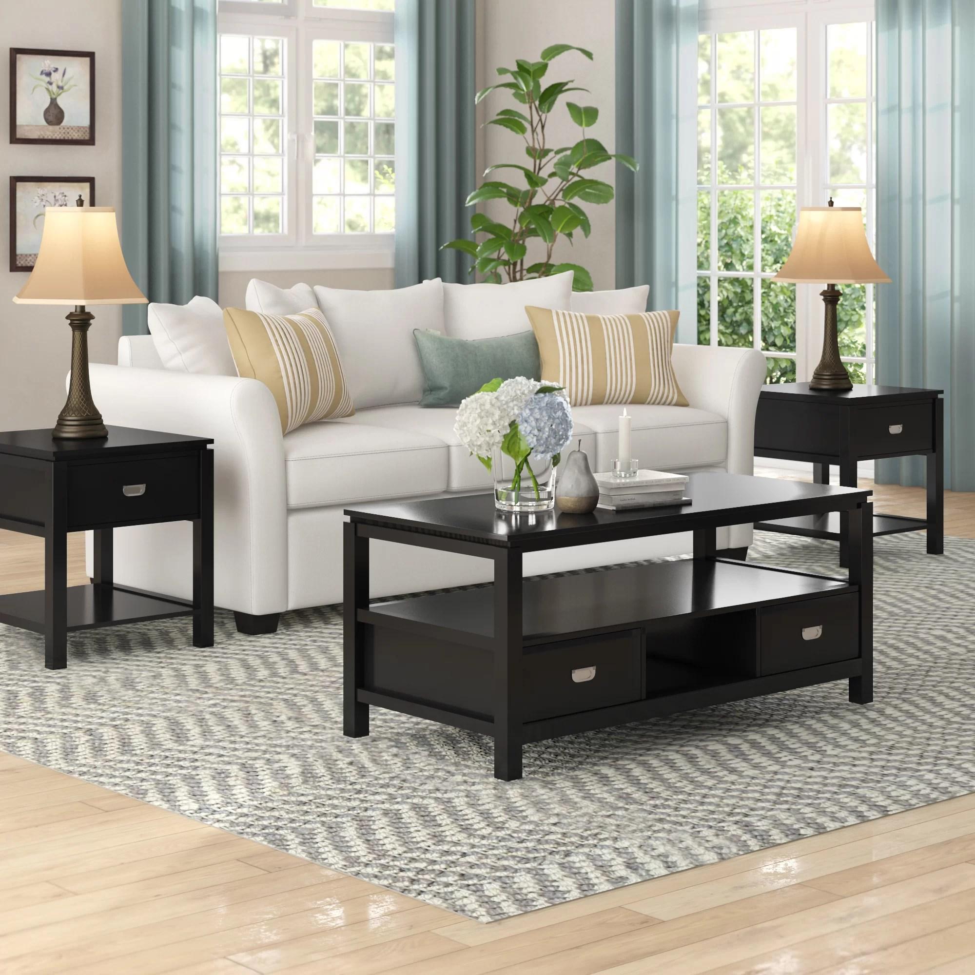 black living room table sets