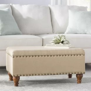 oakford upholstered flip top storage bench