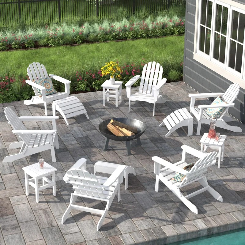 keilson plastic resin folding adirondack chair with ottoman and table