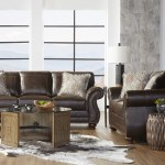 Macalla Faux Leather Upholstered Nailhead Sofa And Loveseat Set In Stone Grey