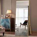 Everly Quinn Full Length Mirror Modern Bedroom Floor Mirror Sleek Round Corner Design Standing Or Leaning 65 X22 Wooden Black Reviews Wayfair Ca