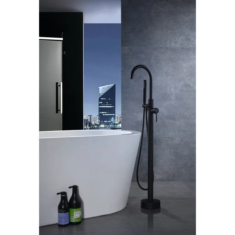 coral series double handle floor mounted clawfoot tub faucet with handshower