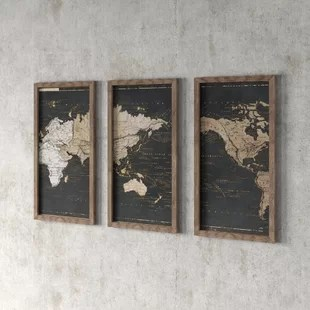 world map in gold and gray 3 piece picture framed graphic art print set on acrylic