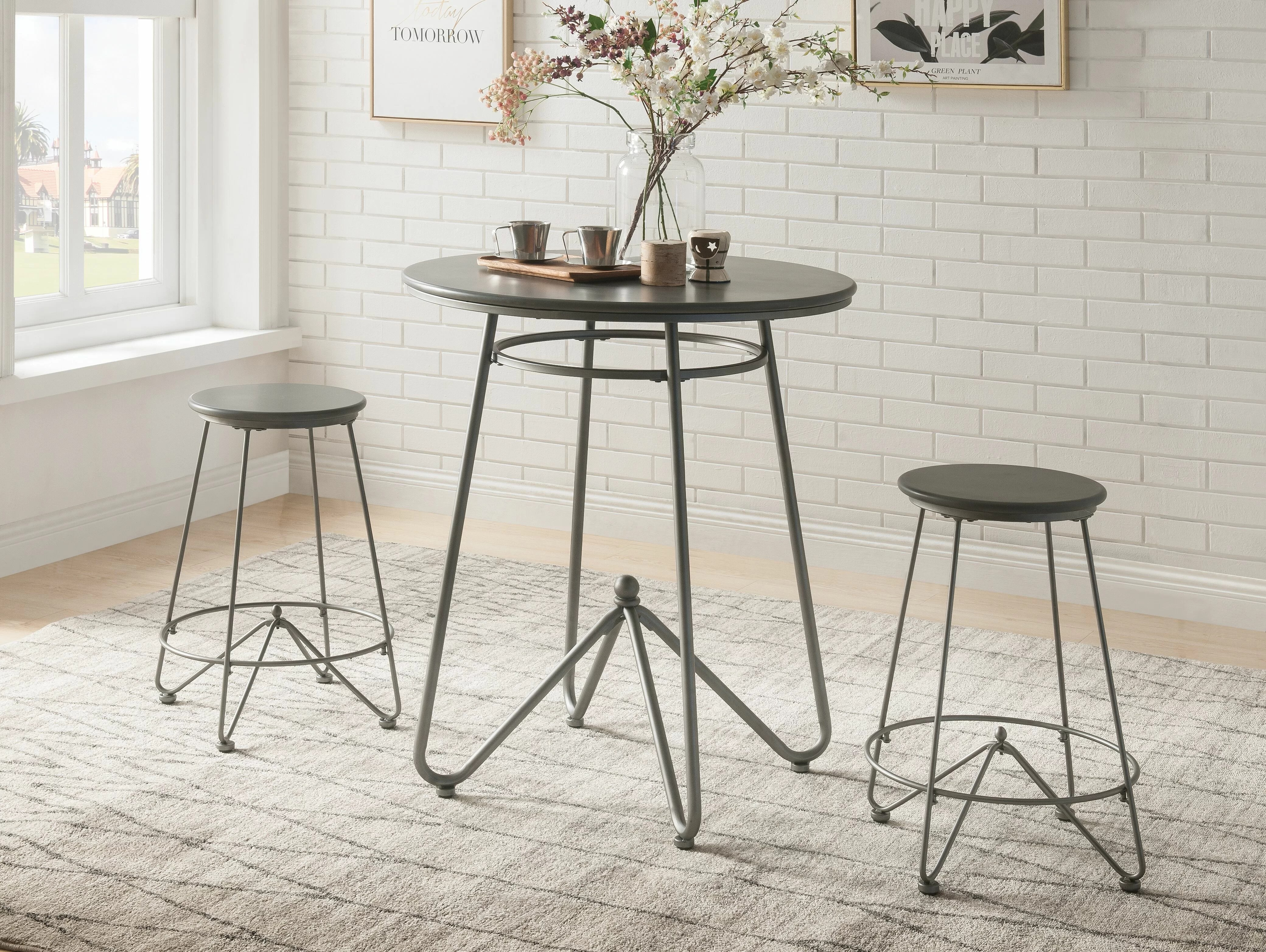 Foundry Select 3pc Round Top Metal Base Dining Table Set In Gray Oak And Sandy Gray Finish Wayfair