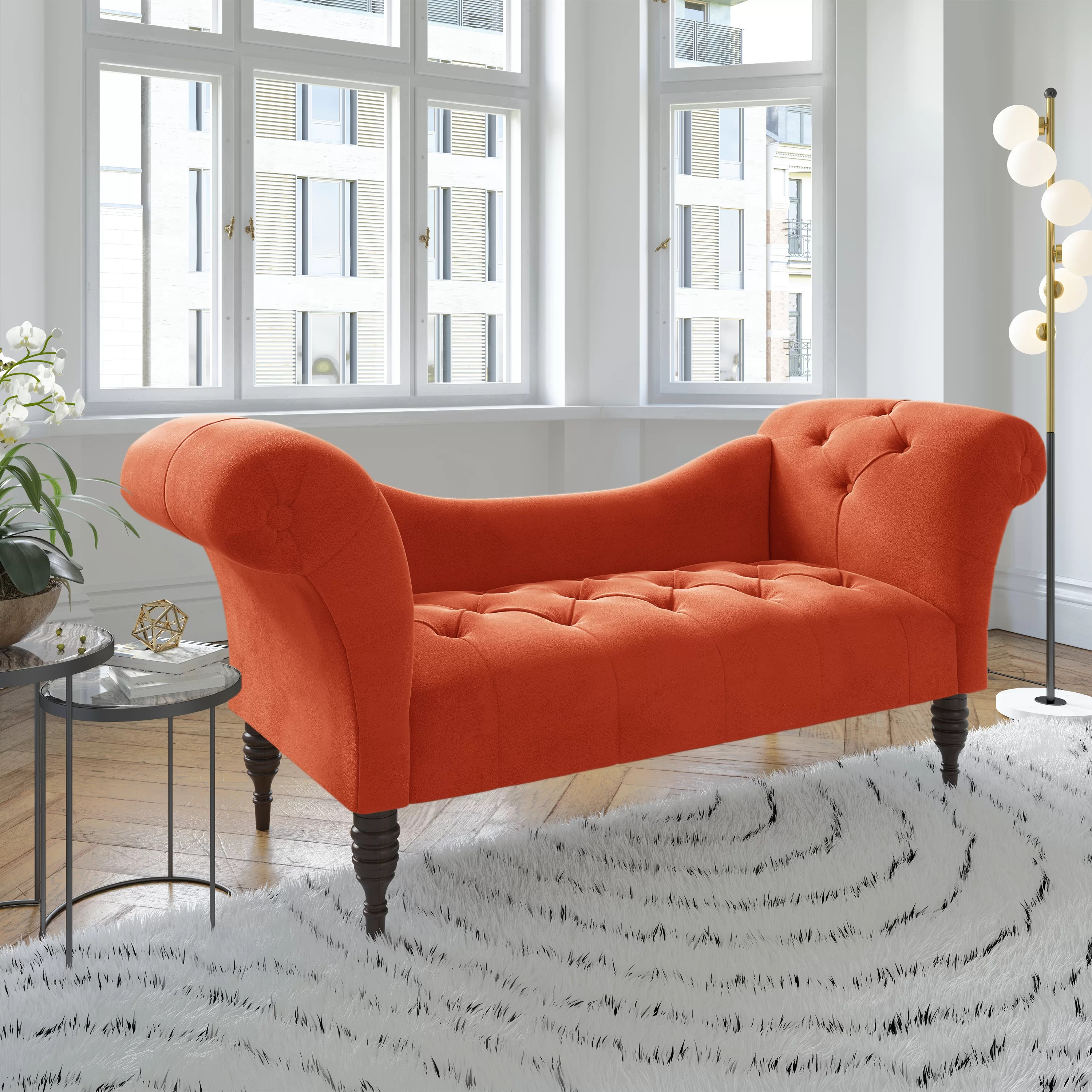 dendy tufted two arm chaise lounge