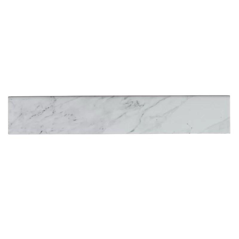 carrara 3 x 18 porcelain bullnose tile trim in off white