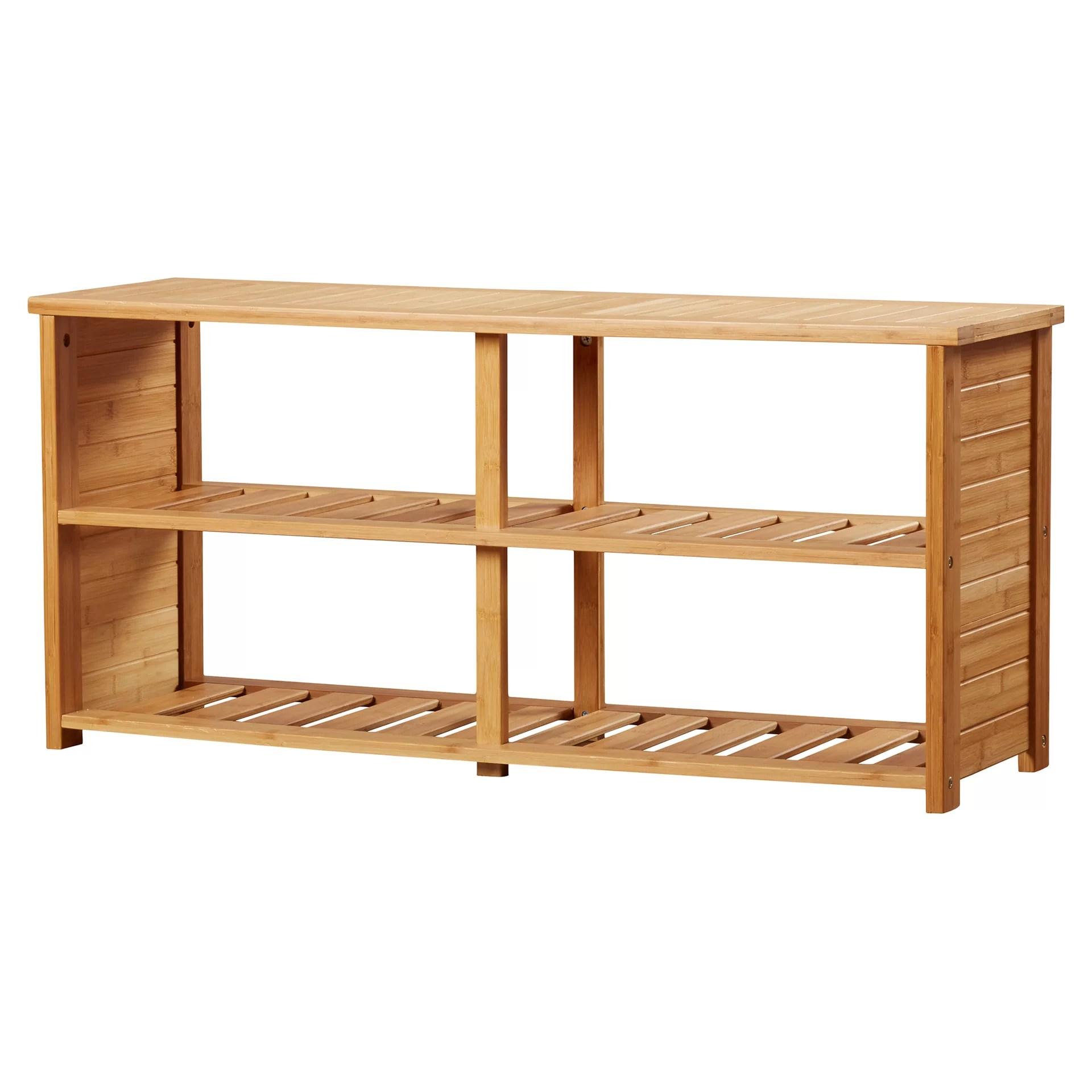 Beachcrest Home 10 Pair Bamboo Shoe Storage Bench Reviews Wayfair