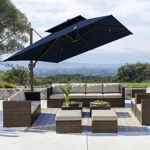 deluxe 10x10 feet outdoor square cantilever umbrella with double top patio offset hanging umbrella with crank lift cross base 8 aluminium ribs