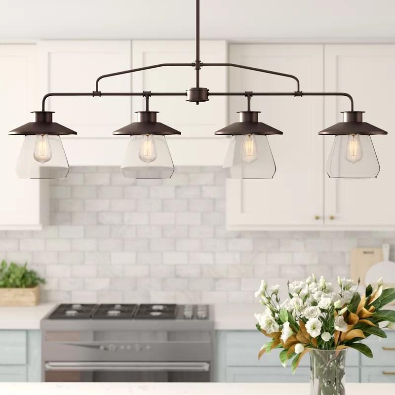 conte 4 light kitchen island linear pendant