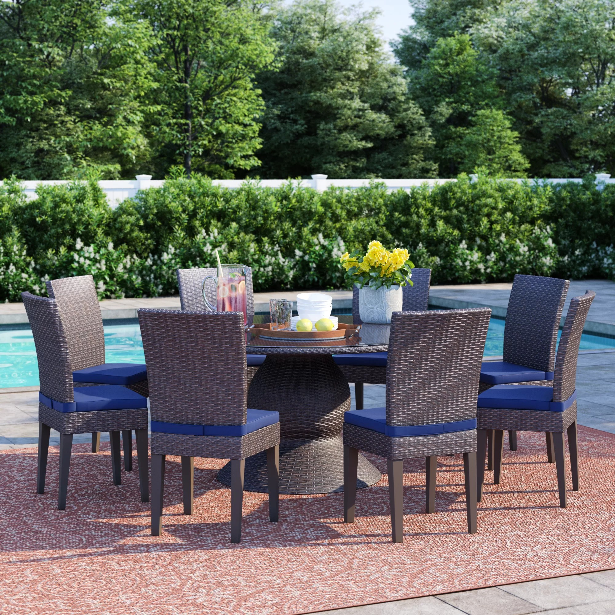 eight person round patio dining sets