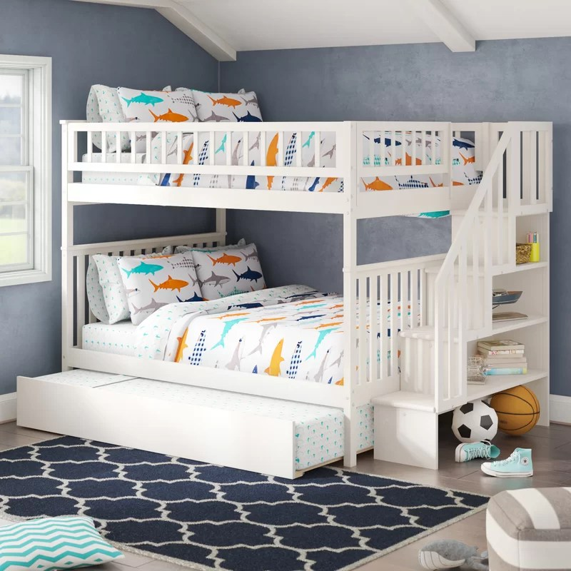 shyann staircase full over full bunk bed with trundle