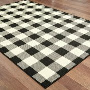 Wiest Gingham Check Black/Ivory Indoor/Outdoor Area Rug