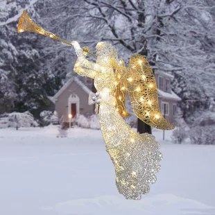 outdoor christmas angels wayfair lighted outdoor angel christmas decoration