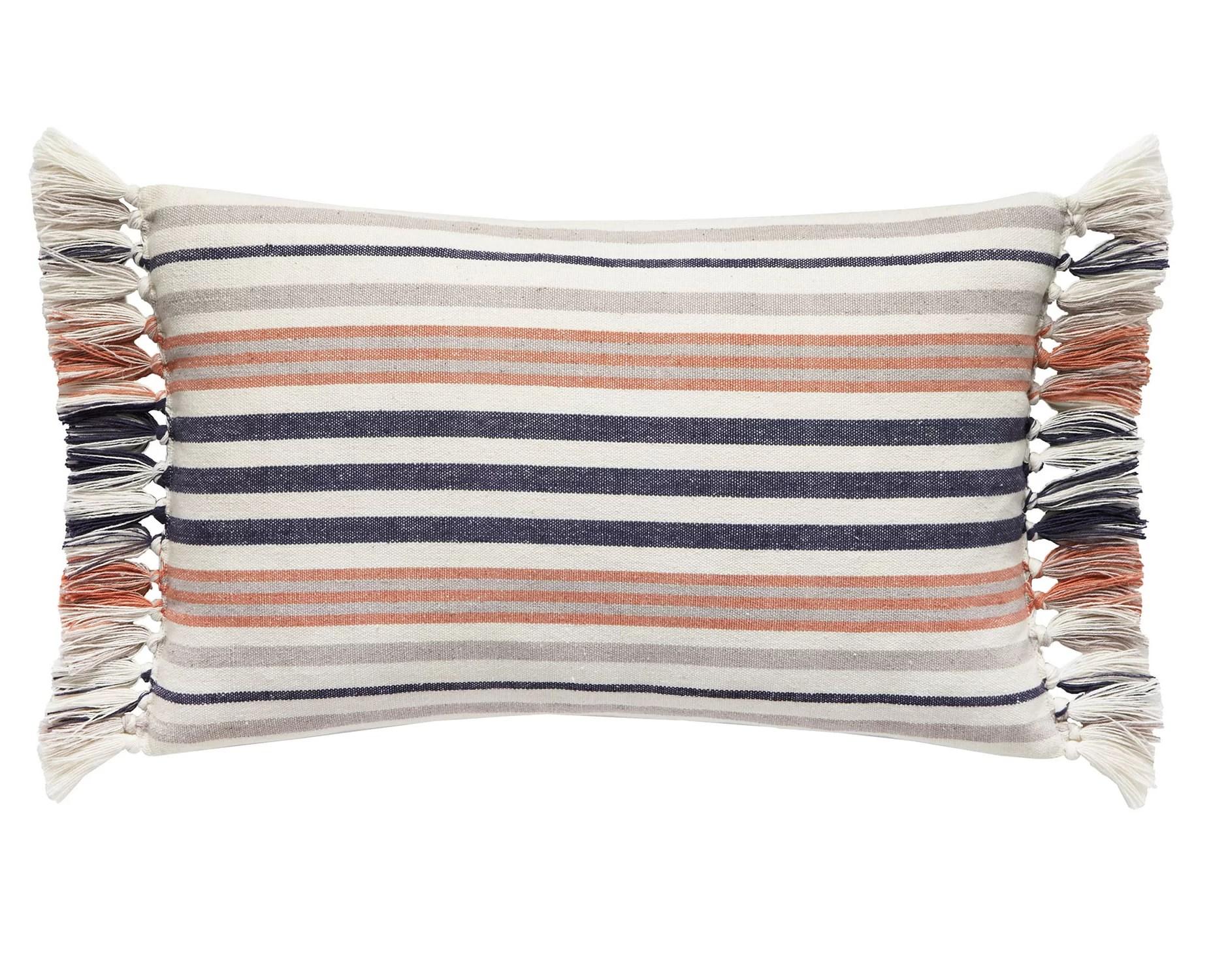 yarn dyed oblong cotton striped lumbar pillow