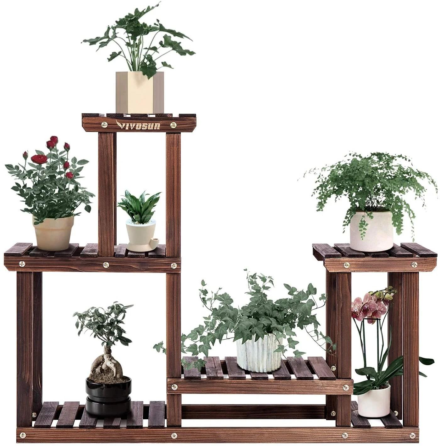 vivosun 3 tier wood plant stand high low shelves flower rack display for indoor outdoor garden lawn patio bathroom office living room balcony
