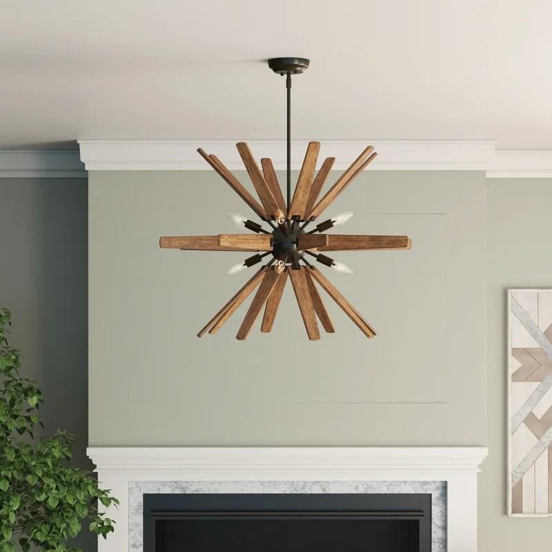 rachael 8 light sputnik sphere chandelier with wrought iron accents