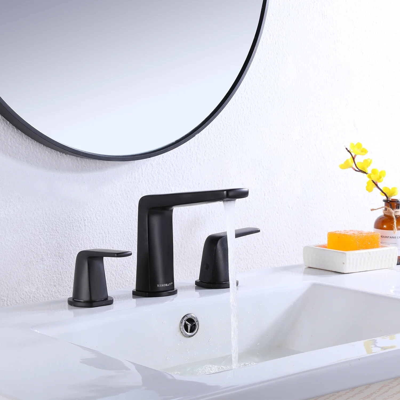 8 in widespread 2 handle bathroom faucet in matte black modern vanity sink faucet