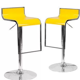 Nempnett Thrubwell Adjustable Height Swivel Bar Stool (Set of 2) By Orren Ellis