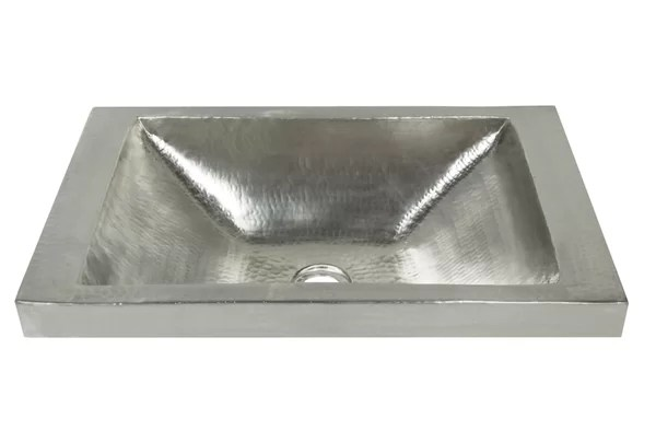 brushed nickel hand hammered rectangular drop in bathroom sink
