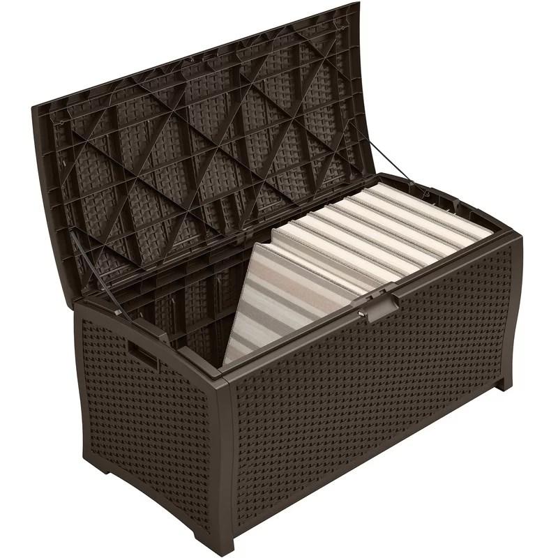 Suncast Java Wicker Outdoor 99 Gallon Resin Deck Box Reviews Wayfair Ca