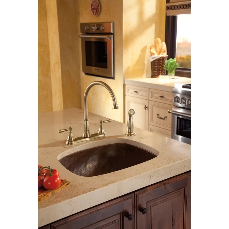 cassidy double handle kitchen faucet with side spray and diamond seal