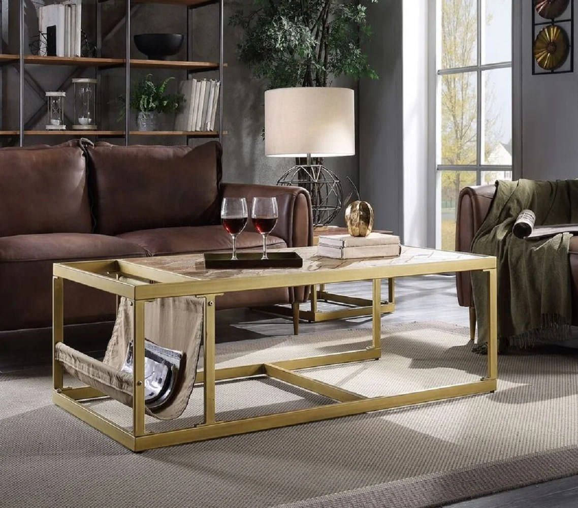 faux leather rectangle coffee tables