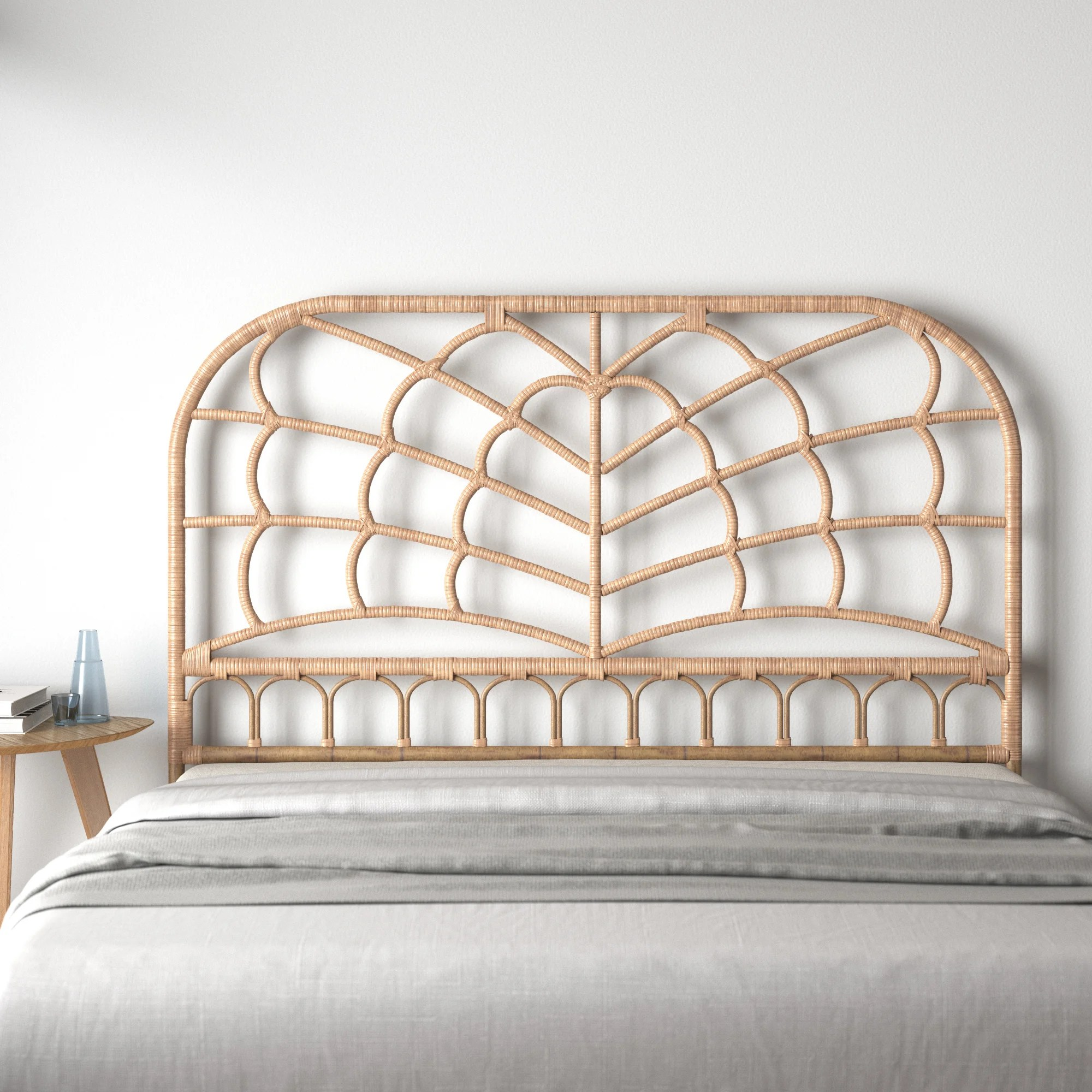 Furniture Home Living Vintage White Wash Light Tan Round Top Wicker Full Double Queen Bed Headboard Woven Rattan Wood 60 X 51 Bedroom Furniture Beach House Big