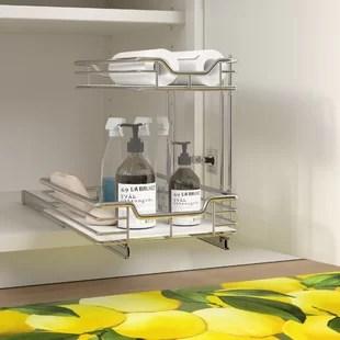 2 tier under sink shelf sliding pull out drawer