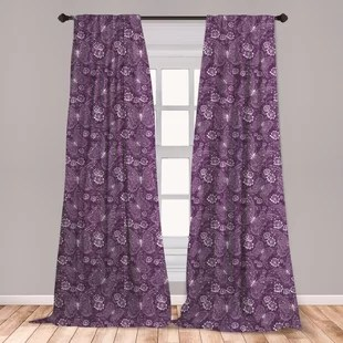 ambesonne plum window curtains floral romantic pattern with vintage style white butterflies swirly wings and flowers lightweight decorative panels