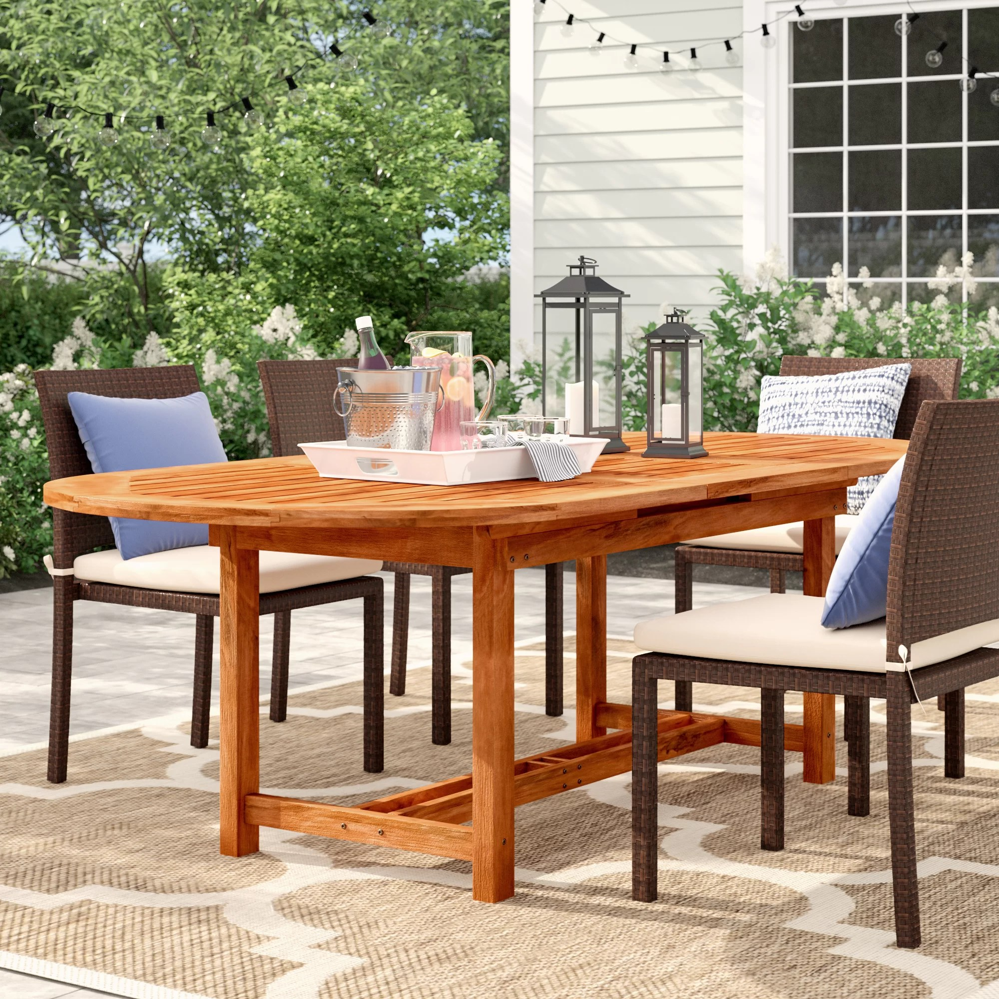 eckman extendable wood dining table